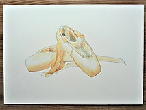 Obrazy - Baletné špičky, akvarel - 11060868_