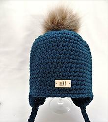 Detské čiapky - Petrolejová detská zimná čiapka s kožušinkou - 11060615_