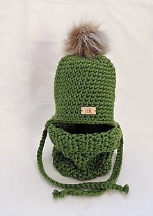 Detské čiapky - Listovo zelený detský zimný set čiapka a nákrčník - 11060676_