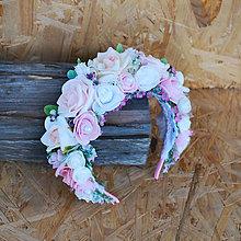 Ozdoby do vlasov - Romantická parta, čelenka z ruží, pastelová, púdrová - 11062736_