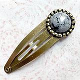 Ozdoby do vlasov - Obsidian Bronze Hairpin / Sponka do vlasov s vločkovým obsidiánom - 11065513_