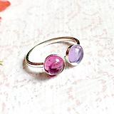 Prstene - Double Tourmaline AG925 Ring / Strieborný prsteň s ružovým a fialovým turmalínom - 11065591_