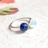 Prstene - Double Lapis Lazuli Opalite AG925 Ring / Strieborný prsteň s lazuritom a opalitom - 11065600_