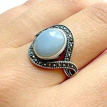 Prstene - Blue Opal & Silver Ag925 Ring/ Strieborný vintage prsteň s modrým opálom - 11062904_