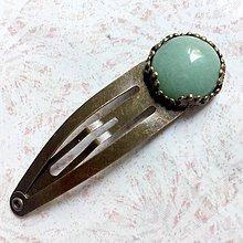 Ozdoby do vlasov - Aventurine Bronze Hairpin / Sponka do vlasov so zeleným aventurínom  /S0004 - 11065500_
