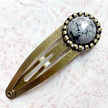 Ozdoby do vlasov - Obsidian Bronze Hairpin / Sponka do vlasov s vločkovým obsidiánom /S0002 - 11065513_