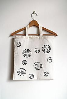 Nákupné tašky - Nákupná taška bavlnená s krátkymi uškami - Listy | Kruhy - 11065069_