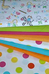Textil - Látka Veľké bodky farebné a Pokreslený zošit - 11065067_