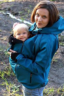 Kabáty - Bunda s odep.rukávy pro nošení dětí- petrolejová - 11062185_