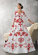 """Šaty - FLORAL FOLK """" Slovenská ornamentika """", spoločenské dlhé šaty (Biela + červený akvarel) - 11061255_"""
