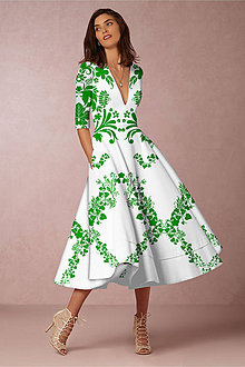 """Šaty - FLORAL FOLK """" Slovenská ornamentika """", spoločenské šaty v dĺžke midi (Biela) - 11061238_"""