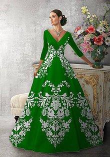 """Šaty - FLORAL FOLK """" Slovenská ornamentika """", spoločenské dlhé šaty (Zelená + biely vzor) - 11061245_"""