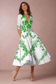 """Šaty - FLORAL FOLK """" Slovenská ornamentika """", spoločenské šaty v dĺžke midi (Biela) - 11061247_"""