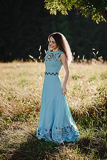 Šaty - Dlhé modré šaty s výšivkou - 11062143_