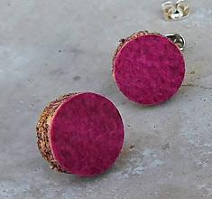 Náušnice - napichovačky pravá koža pink - 11061807_