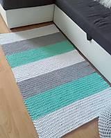 Úžitkový textil - Háčkovaný koberec gray, mint, white - 11061677_