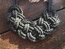 Náhrdelníky - Pletený šedý - 11061973_