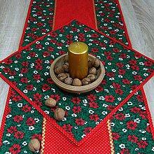 Úžitkový textil - OTO - Cezmíny červeno zeleno zlaté - obrúsok 40x40 - 11065234_