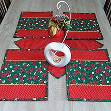 Úžitkový textil - OTO - Cezmíny červeno zeleno zlaté - prestieranie 25x35 - 11065355_