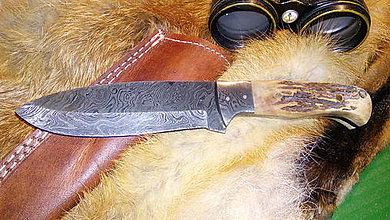 Nože - Damaskový lovecký nôž - jeleň - 11063801_
