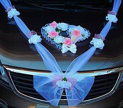 Dekorácie - Svadobná výzdoba na auto-malinová - 11064847_