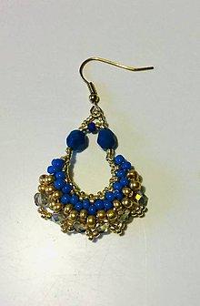 Náušnice - Náušnice zlato- modré - 11065509_