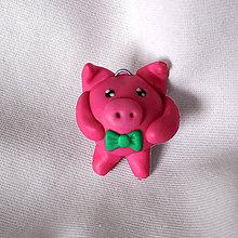 Kľúčenky - FIMO Guľkáč s motýlikom (prasiatko) - 11064849_