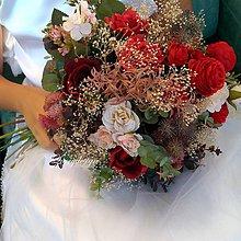 Kytice pre nevestu - svadobná kytica..burgundy&red - 11065207_