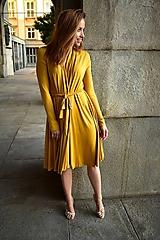 Šaty - APRIL žluté, zavinovací šaty/cardigan - 11067832_