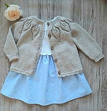 Detské oblečenie - Set pletený kardigán a šatočky, veľkosť 1 rok - 11068118_