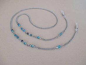 Iné šperky - Swarovski - retiazka na okuliare - chirurgická oceľ - modrá - 11068587_
