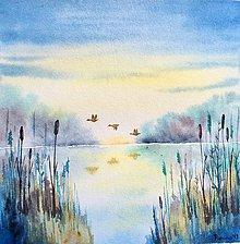 Obrazy - originál akvarel Koniec leta na jazere - 11066223_