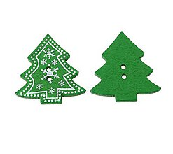 Galantéria - G200 Gombíček vianočný stromček 3,2 x 3,3 cm - 11068269_