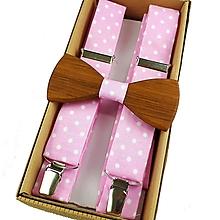 Doplnky - Set Drevený Motýlik a Traky - ružový - 11066358_