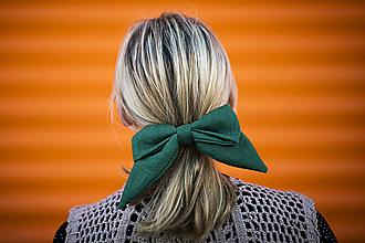 Ozdoby do vlasov - Maxi ušatá ľanová mašľa do vlasov - 11068834_