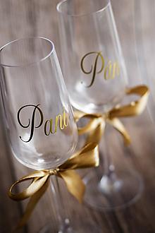 Papiernictvo - Zlatá nálepka na svadobný pohár - Pán/Pani - 11067189_