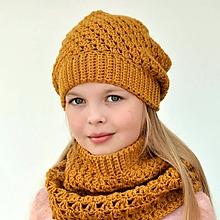 Detské súpravy - Paula set ~ háčkovaná čiapka a šál - 11068463_