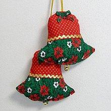 Úžitkový textil - OTO - Cezmíny červeno zeleno zlaté - vianočný zvonček 13x13 - 11065678_