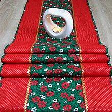 Úžitkový textil - OTO 2 - Cezmíny červeno zeleno zlaté - stredový obrus - 11066031_