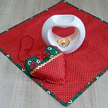 Úžitkový textil - OTO 2 - Cezmíny červeno zeleno zlaté - obrúsok 40x40 - 11066079_