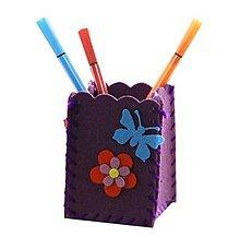 Iný materiál - Kreatívna sada - uši si stojan na ceruzky, 1 sada (fialový) - 11068552_