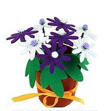 Iný materiál - Kreatívna sada - uši si kvetináč s kvietkami , 1 sada (fialové a biele kvietky) - 11068577_