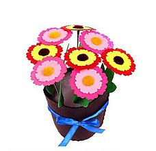 Iný materiál - Kreatívna sada - uši si kvetináč s kvietkami , 1 sada (farebné kvietky) - 11068578_