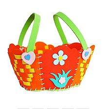 Iný materiál - Kreatívna sada - uši a upleť si košíček, 1 sada (oranžový) - 11068632_