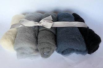 Textil - Sada 5 odtieňov šedej - 11066491_