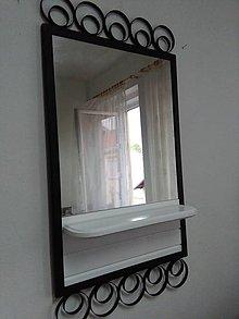 Zrkadlá - Dobové zrkadlo s poličkou drevo kov - 11066014_