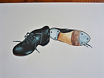 Topánky na step, akvarel