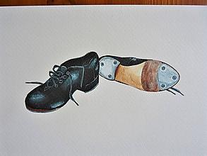 Obrazy - Topánky na step, akvarel - 11068465_