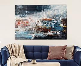 Obrazy - abstraktný obraz, Odraz na nočnom jazere, 150x100 - 11069152_