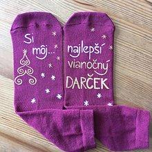 """Obuv - Maľované vianočné ponožky s nápisom: """"Si môj ... vianočný darček... (bordové s bielo zlatou) - 11067707_"""